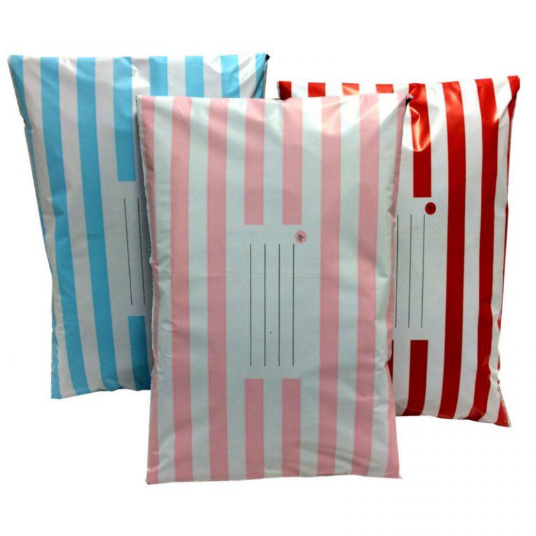 Printed Candy Stripe Polythene Postal Mailing Bag