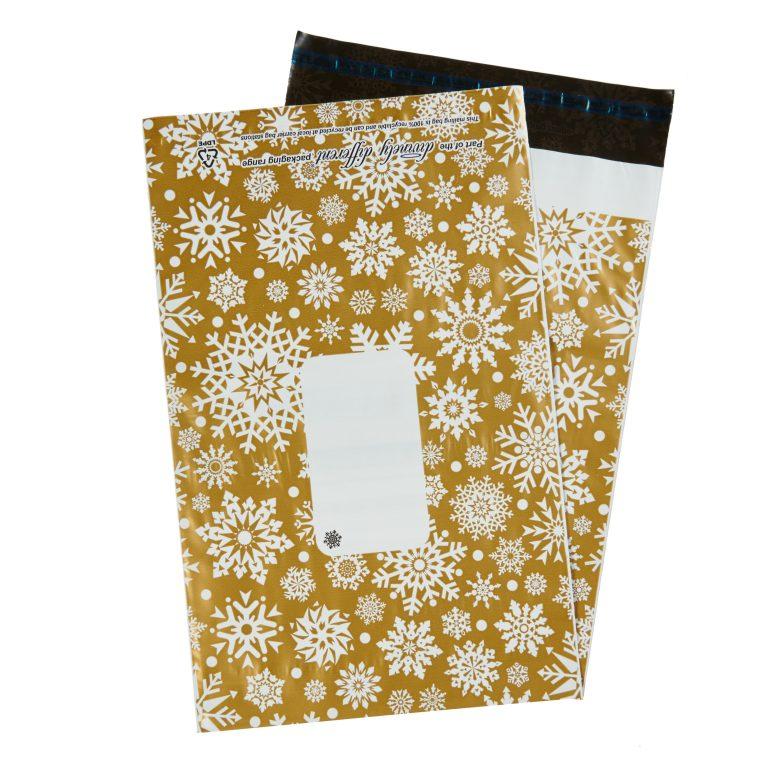 Gold Metallic Snowflake Single Polythene Mailing Bag