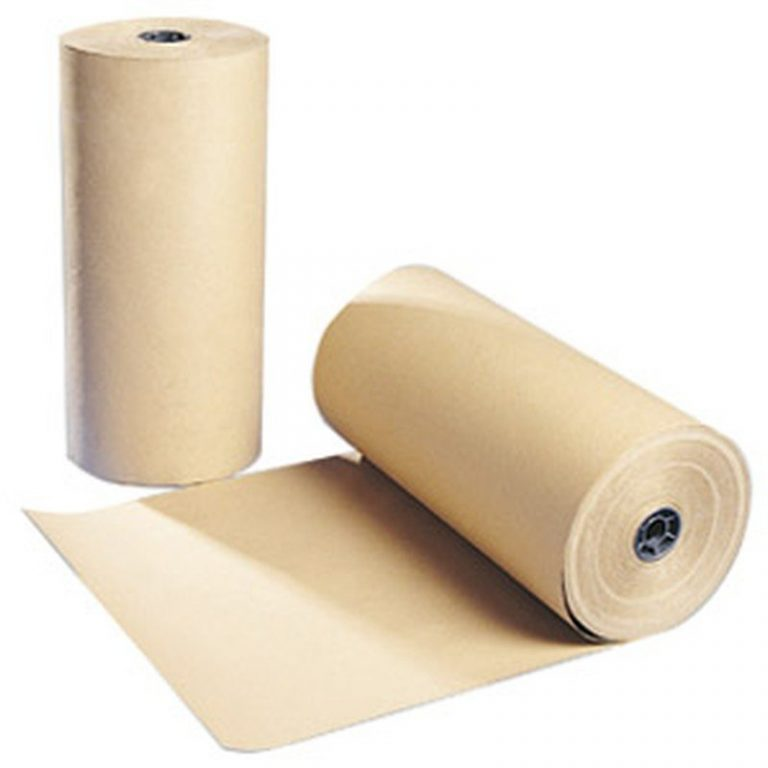 Two kraft rolls, one upright and one laying down