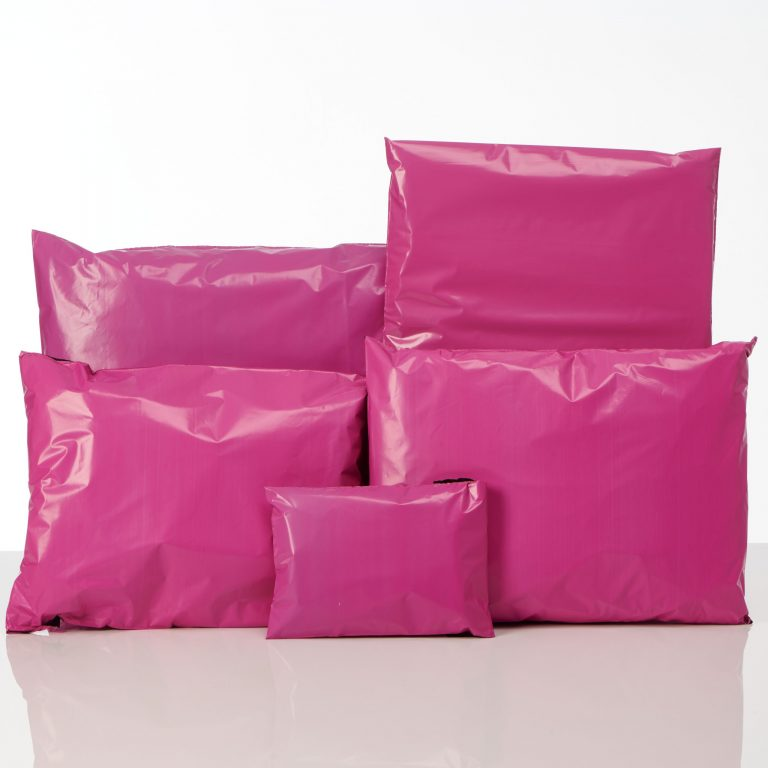 Coloured Pink Mailing Bags Group Shot