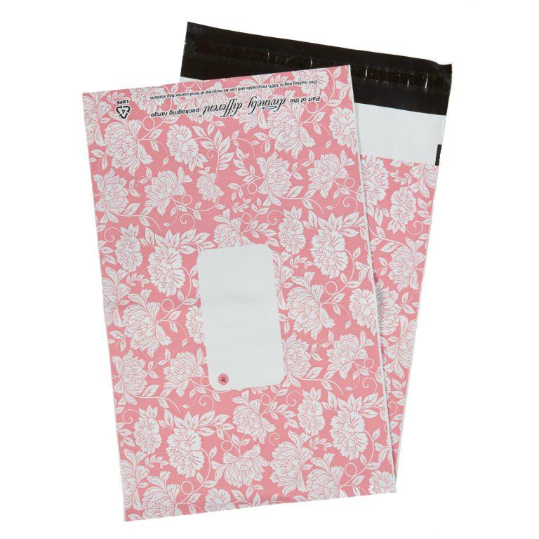 Pink Floral Single Polythene Mailing Bag