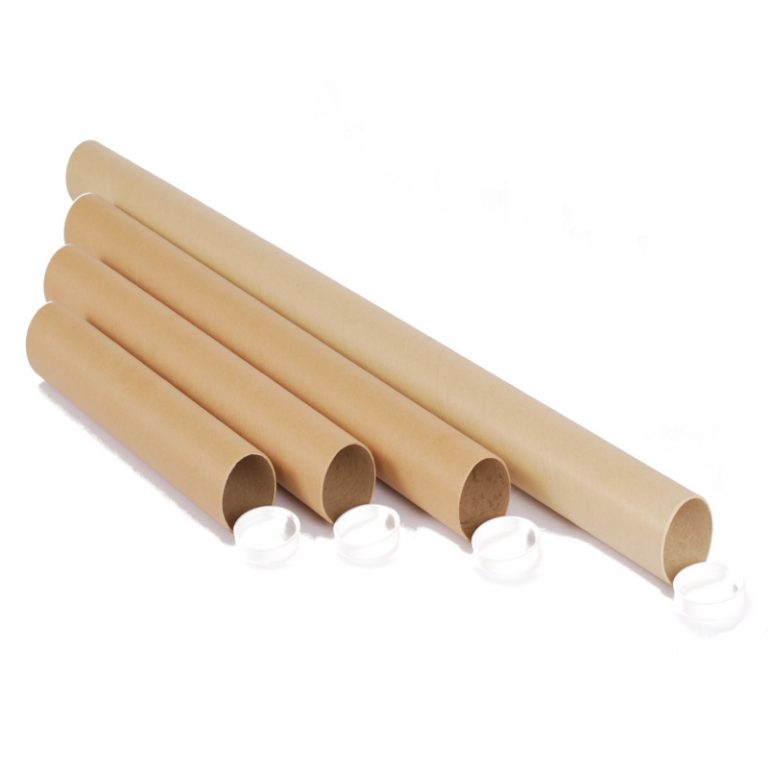 4 different sizes of cardboard postal tubes with plastic cap ends