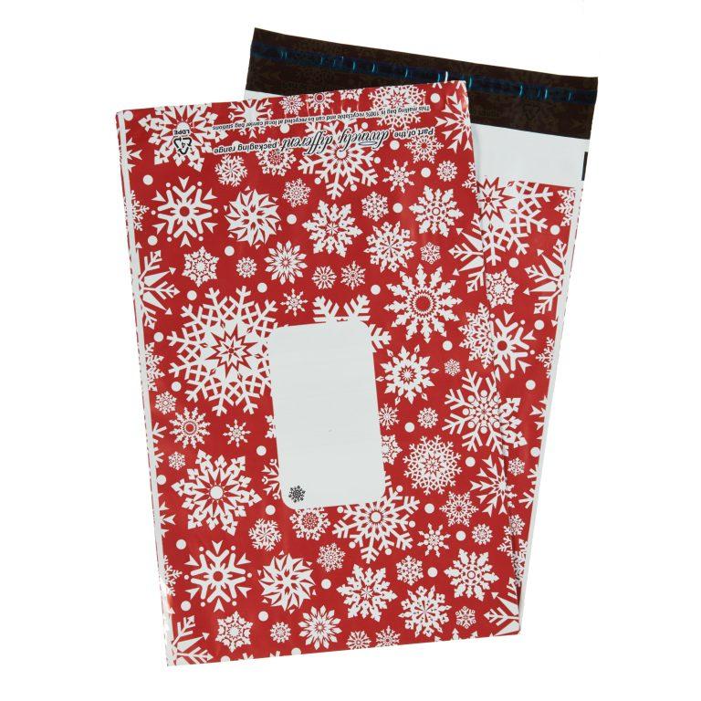 Red Metallic Snowflake Single Polythene Mailing Bag
