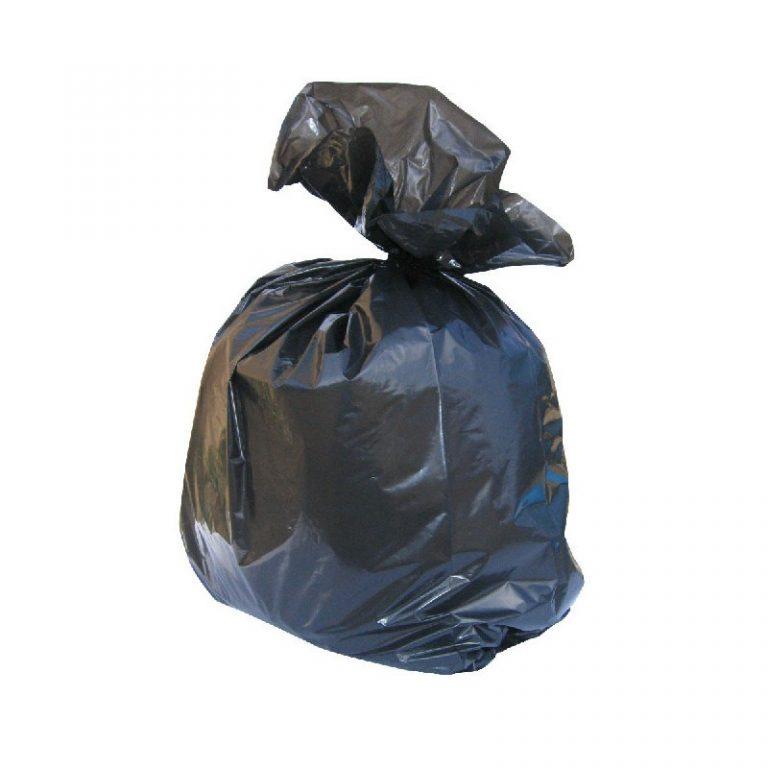 One black refuse sack half filled, tide up.