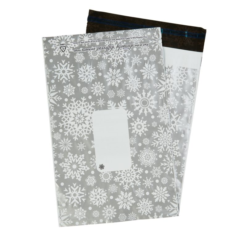 Silver Metallic Snowflake Single Polythene Mailing Bag