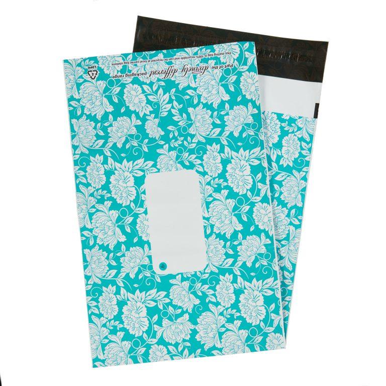 Teal Floral Single Polythene Mailing Bag