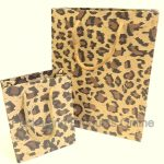 A small and medium sized leopard printed gift bag.