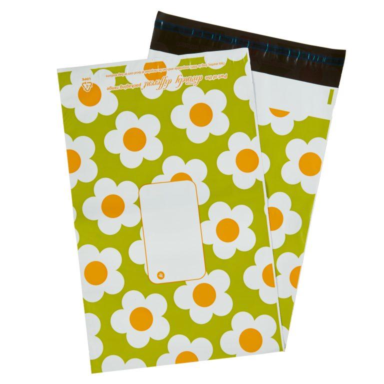Green Daisy Single Polythene Mailing Bag