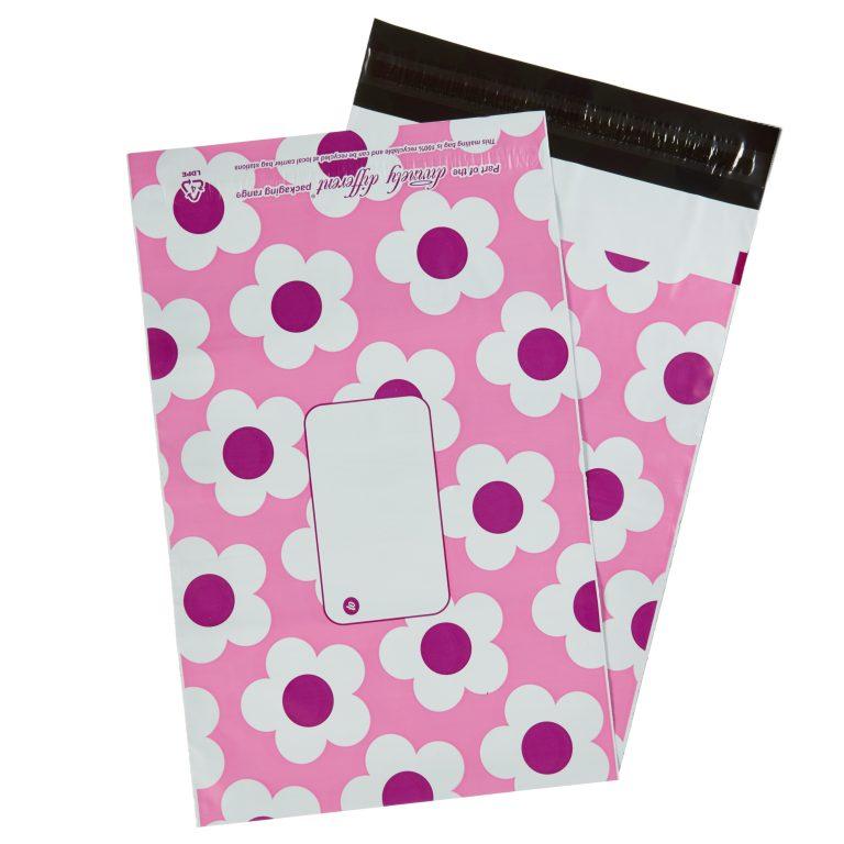 Pink Daisy Single Polythene Mailing Bag