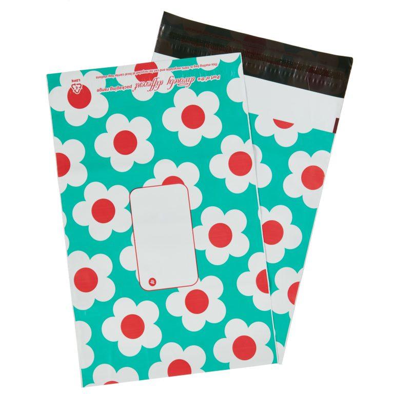 Turquoise Daisy Single Polythene Mailing Bag