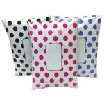 3 colours, pink, black & blue printed spot reverse polka dot divinely different mailing bags