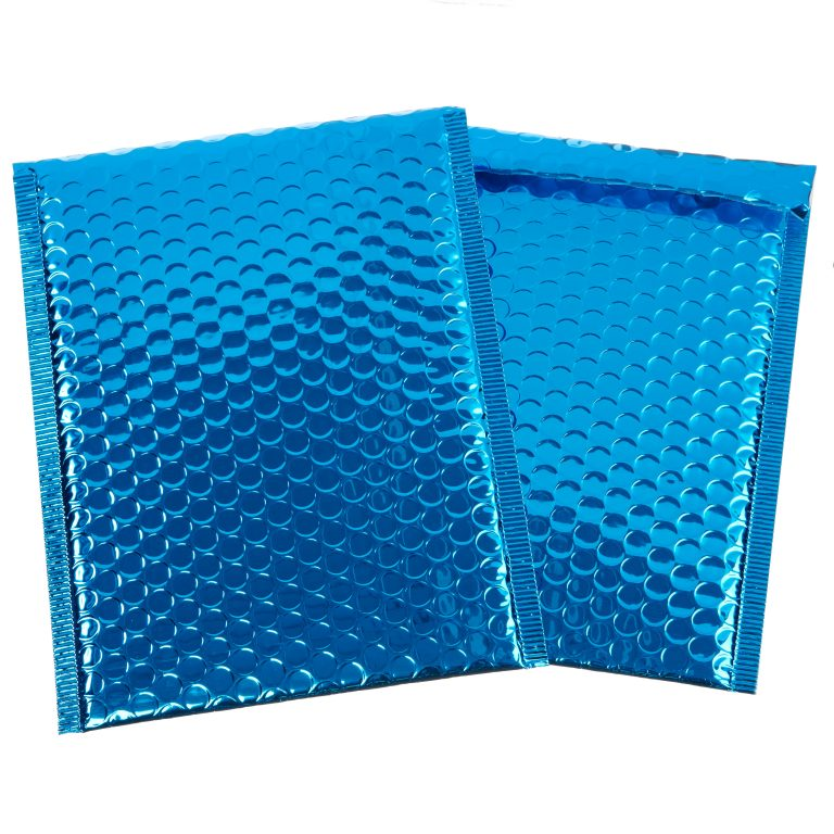 Blue Metallic Padded Bubble Bag