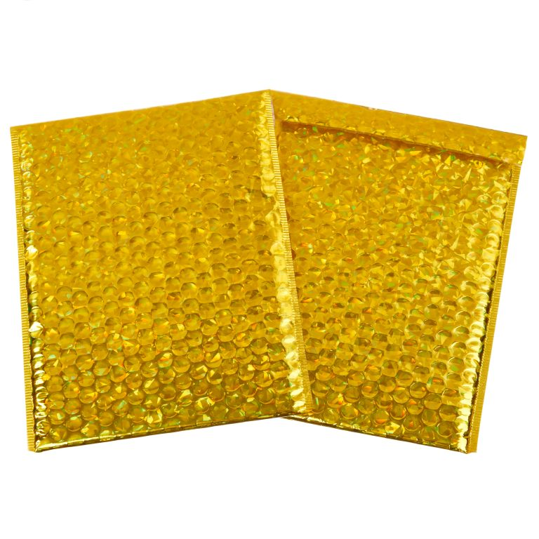 Gold Holographic Metallic Padded Bubble Bag