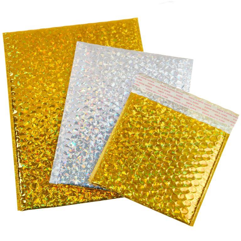 Holographic Metallic Padded Bubble Bag Group