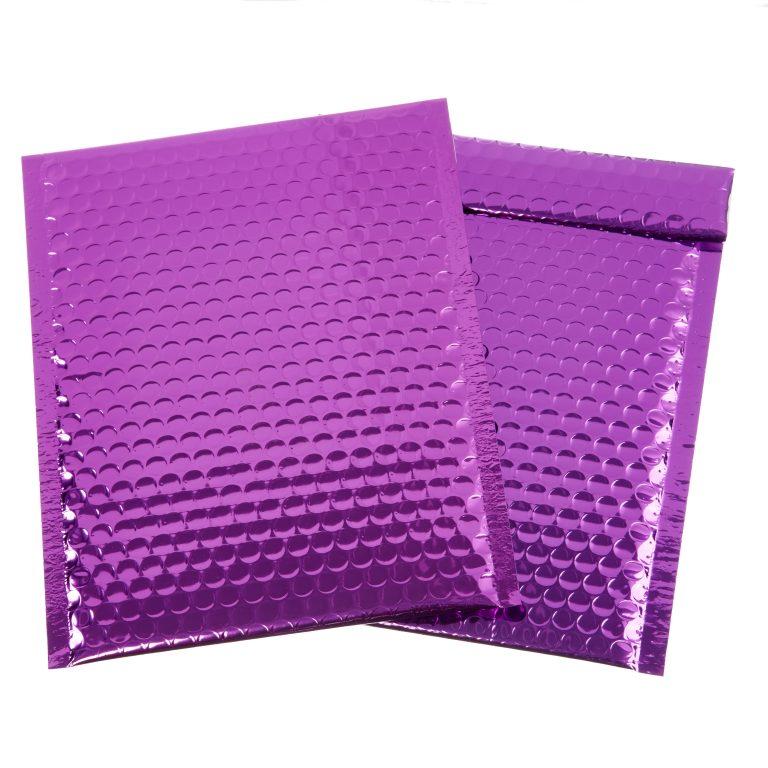 Purple Metallic Padded Bubble Bag