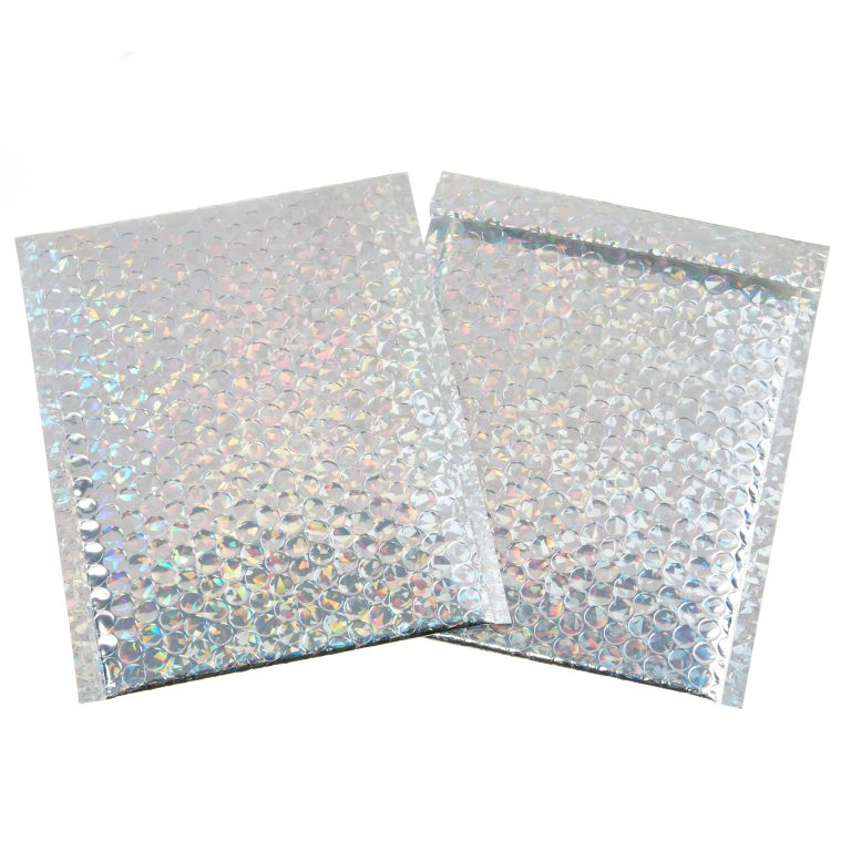 Silver Holographic Metallic Padded Bubble Bag
