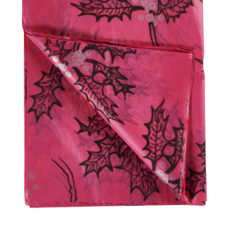 Cerise Pink Holly Printed Tissue Paper