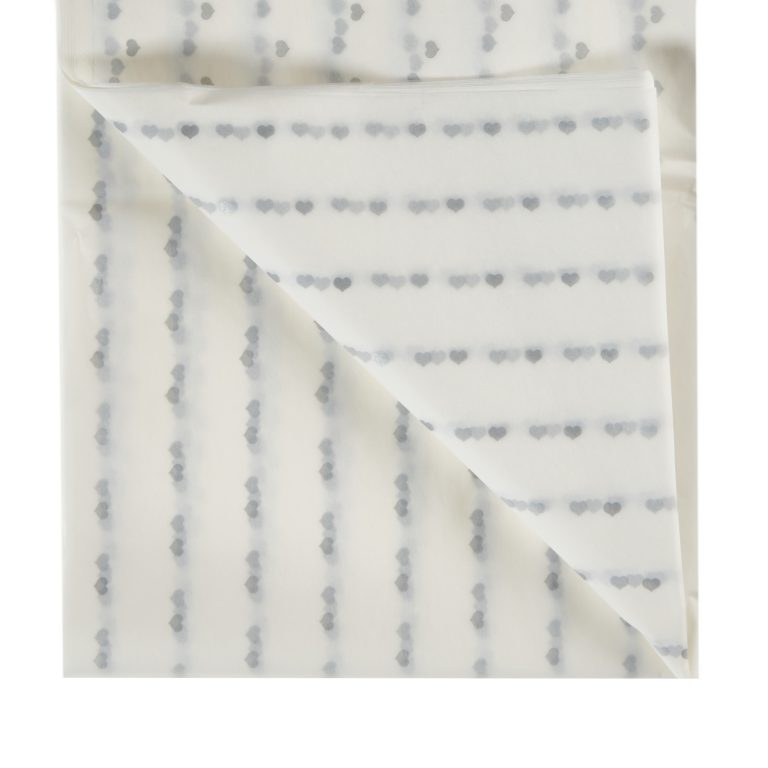 Silver Heart Printed Tissue Paper