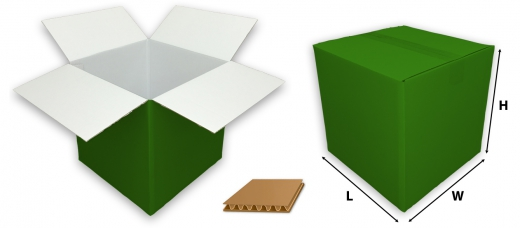 0201 single wall coloured green cardboard boxes
