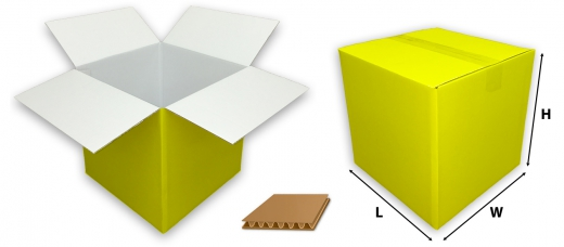 0201 single wall coloured yellow cardboard boxes