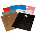 Coloured Plastic Carrier Bags with punched out handle varigauge in a selection of colours