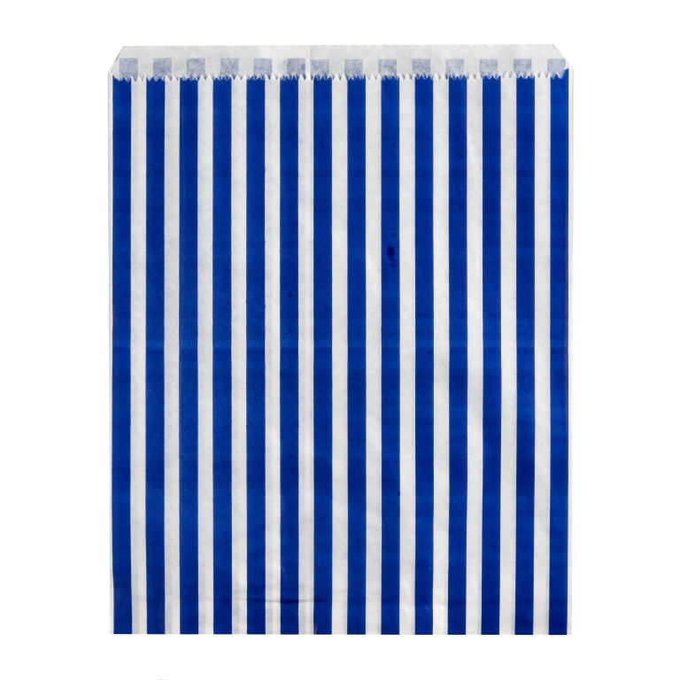 Dark Blue Paper Candy Stripe Bag Single