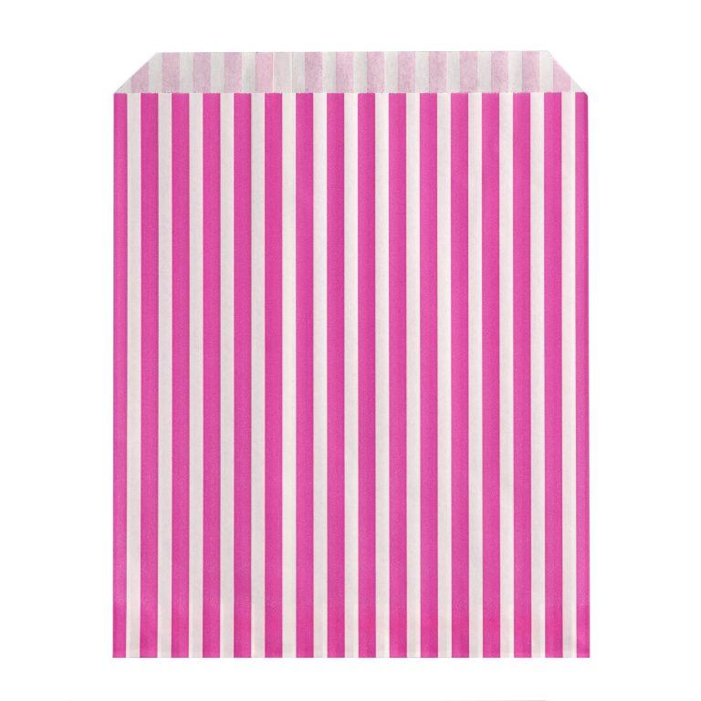 Pink Paper Candy Stripe Bag Single