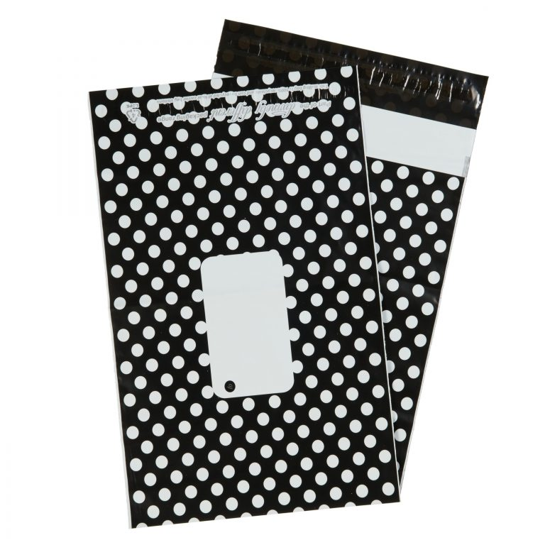 Black Polka Dot Single Polythene Mailing Bag