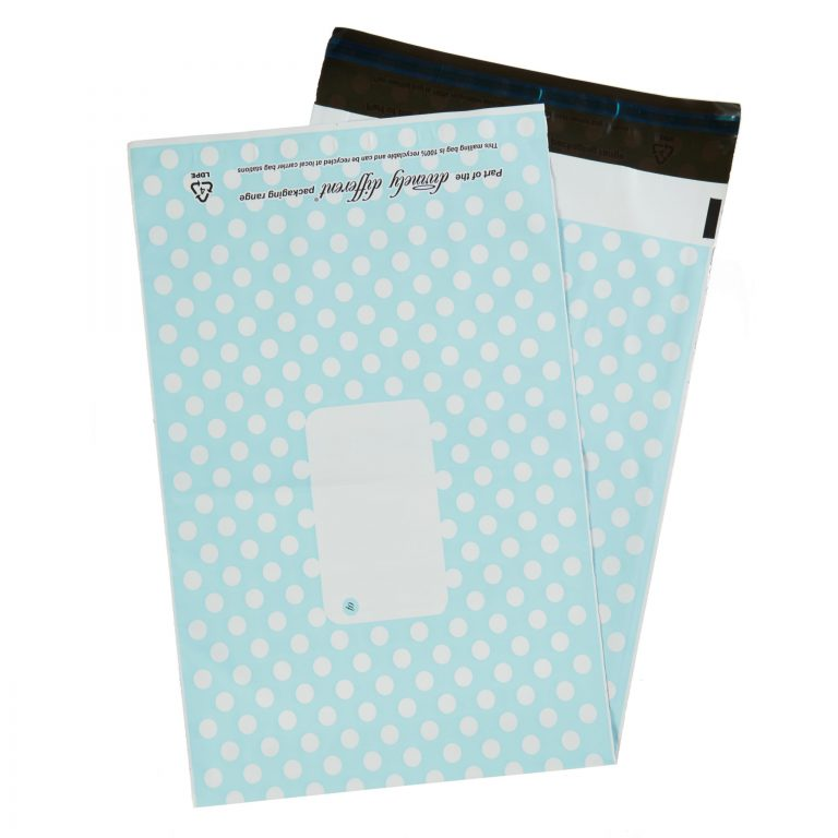 Blue Polka Dot Single Polythene Mailing Bag