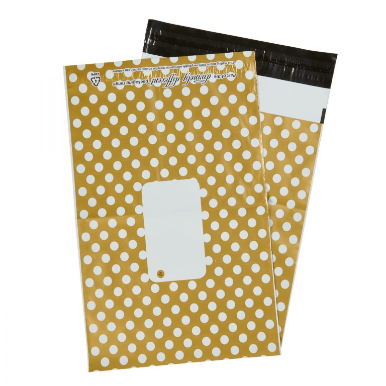 Gold Polka Dot Single Polythene Mailing Bag