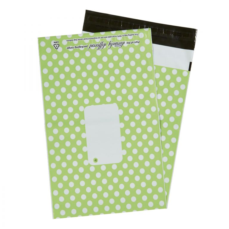 Green Polka Dot Single Polythene Mailing Bag