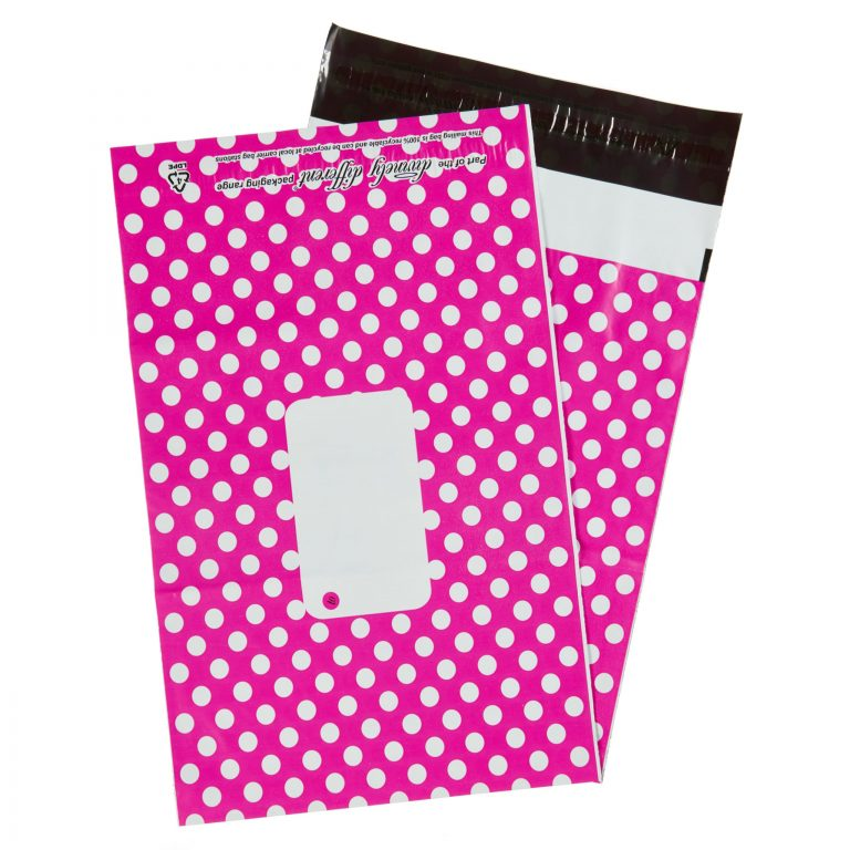 Hot Pink Polka Dot Single Polythene Mailing Bag