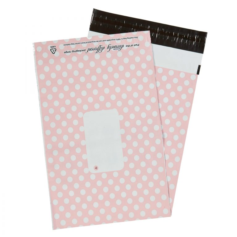Pink Polka Dot Single Polythene Mailing Bag