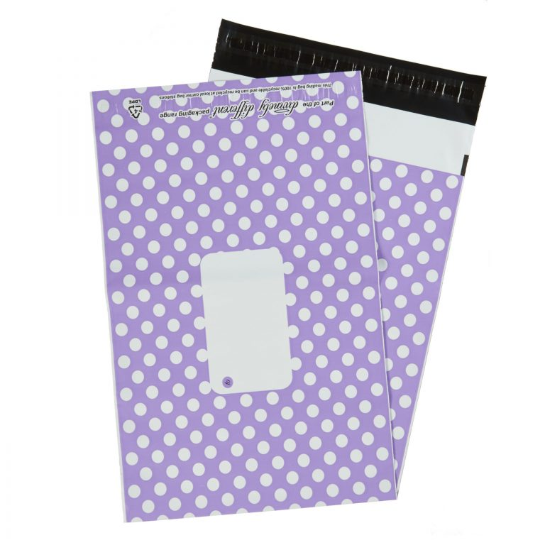 Purple Polka Dot Single Polythene Mailing Bag