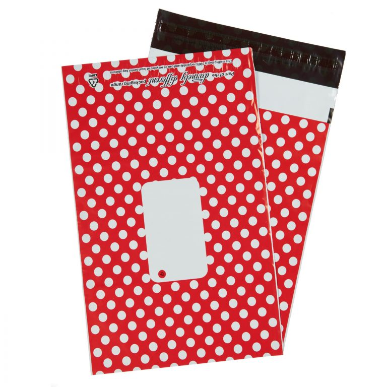 Red Polka Dot Single Polythene Mailing Bag