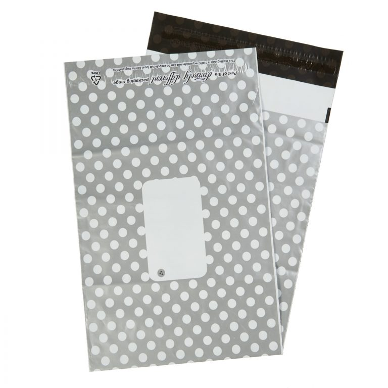 Silver Polka Dot Single Polythene Mailing Bag