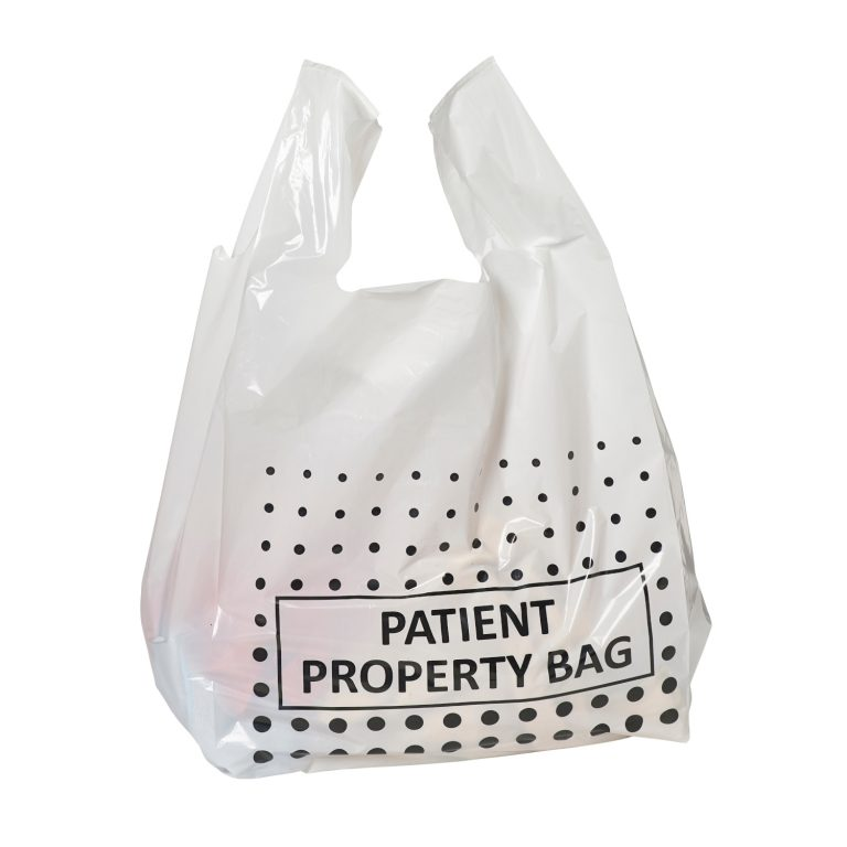 White Patient Property Carrier Bag