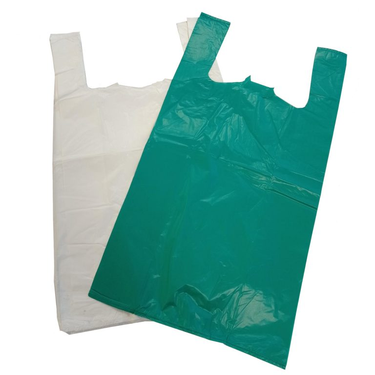 Plastic Vest Carrier Bags Green and White